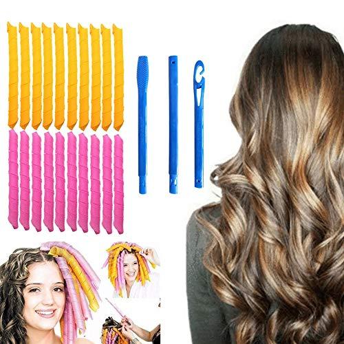 Curler Curler - Set di 21 arricciacapelli a spirale, 18 arricciacapelli senza calore e 3 uncinetti, capelli extra lunghi fino a 55 cm di lunghezza, per donne e ragazze (21 pezzi)