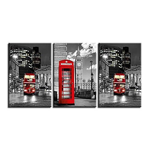 CJFHBVUQ 3 Panel Lienzo Abstracto Ciudad Negra Y Cabina Telefónica Roja Decoracion De Pared Fotos 3D Ogar Casera con Marco 30Cmx50Cmx3