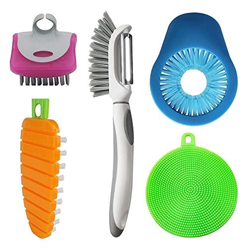 Flexible Vegetable Brush Fruit and Vegetable Brushes, Vegetable/Fruit Peeler with Brush Bendable Fruit Brush Scrubber for Food Veggies Carrot Potato Corn, 5 Pcs