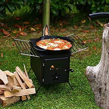CampFeuer Poêle à bois portable - 54 x 40 x 294,5 cm - Noir - Pour camping, extérieur, tente - Chauffage de tente - Pour camping