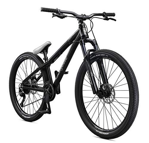 Mongoose Fireball Dirt Jump Mountain Bike, 26-Inch Wheels, Mechanical Disc Brakes, Black