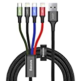 Baseus ライトニングケーブル Micro usb ケーブル Type c ケーブル 4in1 ケーブル 3.5A急速充電 対応 iOS - Lightning iPhone 充電 高速データ転送 と Android 充電 多機種対応 1.2m (1 x マルチカラー 4 in 1 + ブラック収納袋)
