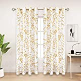 PLWORLD - Juego de cortinas blancas doradas de 84 pulgadas de largo, diseño de ramas de árboles, paneles de tratamiento de ventana para sala de estar y recámara, cortinas semitransparentes de lona...