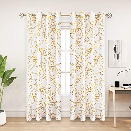 PLWORLD Goldene Folien-Vorhänge, halbtransparent, 160 cm lang, für Schlafzimmer, Baumzweig-Muster, Ösen, Leinwand, Fensterbehandlung, Vorhänge für Wohnzimmer, weiß, 140 x 160 cm, 2er-Set