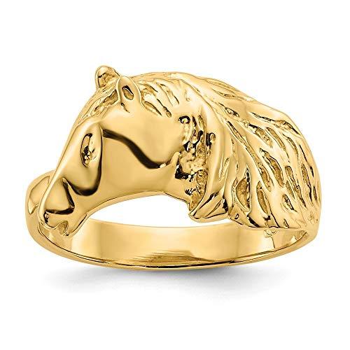 14 Karat Gold, poliert, Pferdekopf JewelryWeb Damen-Ring