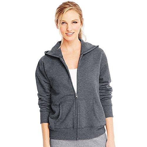 Hanes Women's EcoSmart Full-Zip Hoodie Sweatshirt, Slate Heather, 2X Large