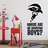 Where We Droppin Boys Game Wall Sticker Peel and Stick Removable Gaming Wallpaper Home Decor Art Murals Decal for Boy Kid's Bedroom Living Room