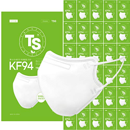 【 30 Pack 】 TS KF94 Certified, TAS Safety Face Mask, Double-Folding Style, 3D-Ergonomic Design, Individually Single Packed, White Color, Made in Korea