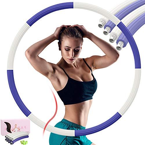 DUTISON Hula Hoop Fitness 1.2kg Hula Hoop Adulto Diseño Extraíble de 8 Secciones, El Peso Se Puede Ajustar Libremente, Aro Hula Hoop Está Hecho de Tubería de Acero Galvanizado