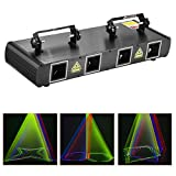 DJ Lights, BSYUN 4 Lens RGBY Sound Activated DJ Led Projector Party Lights Compatible with DMX512 Controller for Birthday Disco Dance Events Show Upgrade