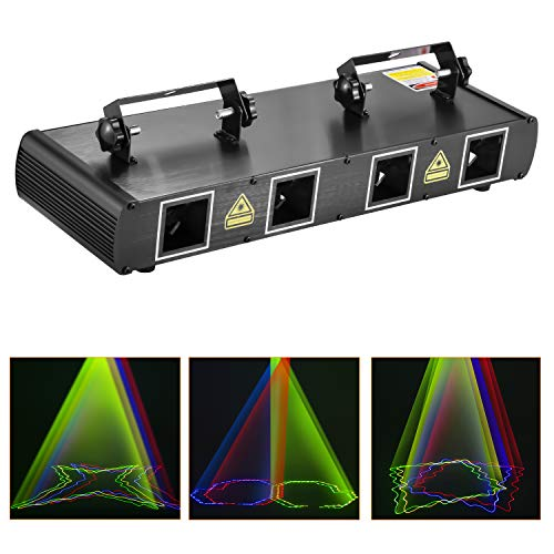 Laser Lights, BSYUN 4 Lens RGBY Sound Activated DJ Led Projector Party Lights Compatible with DMX512 Controller for Birthday Disco Dance Events Show Upgrade