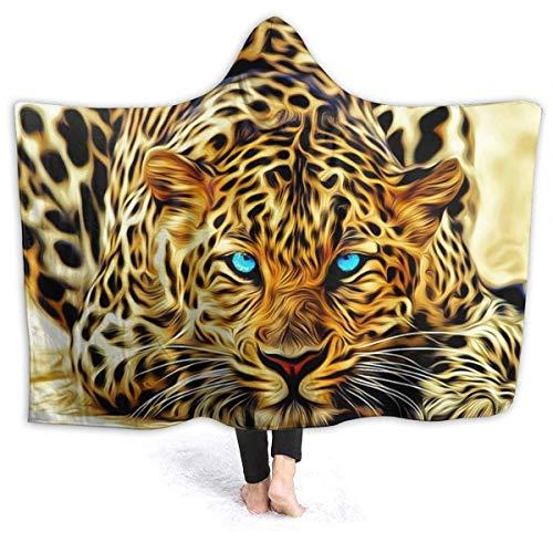 Mantas para hombre y mujer, efecto especial leopardo con ojos azules auténticos mantas con capucha para festivales de música, oficina, abrigo de manto antisuciedad, 80 x 60 pulgadas