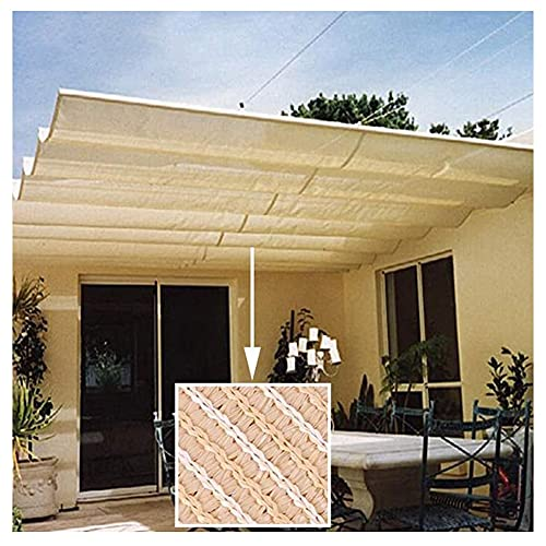 XJJUN Markise, Verstellbarer Schiebedraht Wellenschirm Segel Atmungsaktiver Sonnenschutz 90% UV-beständig, Für Pergola Gartenpavillon (Color : Beige, Size : 0.5x2m)