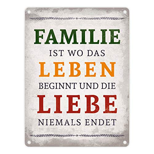 trendaffe - Familie ist Leben und Liebe Blechschild in 15x20 cm - Metallschild Reklameschild Dekoschild