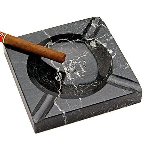 HomeWetBar Personalized Custom Black Marble Square Cigar Ashtray, Laser Engraved Monogram