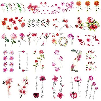 Everjoy Red and Pink Flower Temporary Tattoos - 24 Pcs Rose Blossom Leaf Words for Women Men Kids Boys and Girls