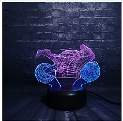 Leeslamp bedlampje tafellamp tafellamp tafellamp coole motor fiets met 7 kleuren licht voor auto decoratie slaapkamer kinderen jongens verjaardagscadeau lamp