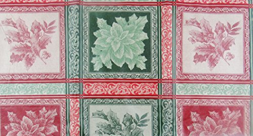 Elegant Poinsettia and Holly Jacquard Vinyl Flannel Back Tablecloth (60' x 84' Oblong)