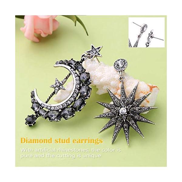 MINIDUO Girls Moon and Star Earrings Jewelry Fashion Long Drop Dangle Stud Drop Earrings for Women