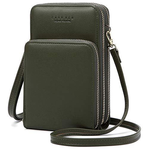 Handy Umhängetasche Damen, Leder Handytasche zum Umhängen Brieftasche Crossbody Geldbörse Klein mit Kartenfächer, Verstellbar Schultergurt für Handy unter 7 Zoll (Grün)