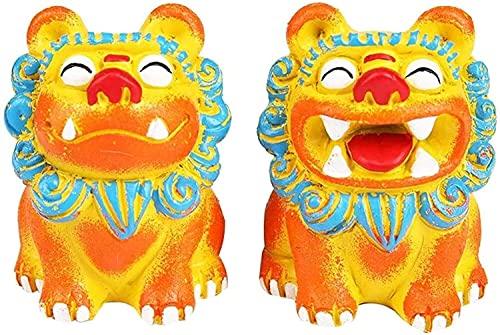 Fu FOO H&e-Statuen EIN Paar Peking-Löwen-Paar Chinesisches Feng Shui-Dekor Harz-Wächter für Zuhause & Büro ziehen Reichtum & Glück