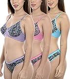 StyFun® Women Pack of 3 Cotton Bra Panty Set|Lingerie Set|Bra Panty Set |Bra Panty Set for Women with Sexy|Panty Bra Set for Women|Bridal Bra Panty Set|Women Undergarments|Multi-Color