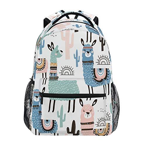 HaJie Backpack Tribal Alpaca Animal Cactus Travel Daypack Large Capacity Rucksack Casual School Book Bag Shoulder Straps Computer Laptop Bag for Womens Mens Teenage Girls Boys