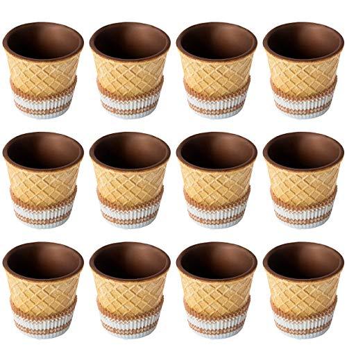 Schokobecher/Schoko-Waffelbecher/Dessertnaschbecher innen schokoliert – Größe M, 12 Stück