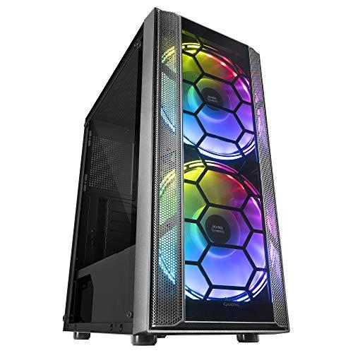 MARSGAMING MC500, Caja PC ATX, 2 Ventiladores XXL FRGB, Ventana+Rejillas, Negro
