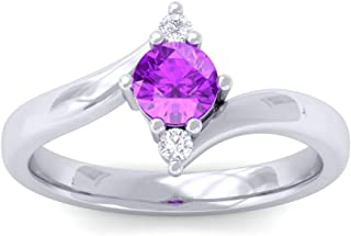 Diamond Band Ring for Women 1/2 cttw Certified Natural Diamond & Amethyst Engagment Ring in 14 K White Gold (IJ color, SI ...
