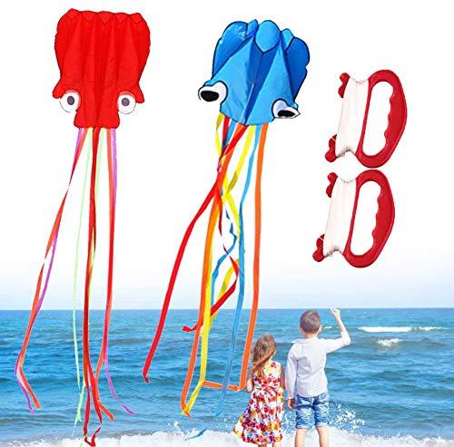 2 Stück / Set Drachen für Kinder Große Octopus Drachen Kinder Drachen mit Griffschnur für Beach Park Drachen für Kinder Und Erwachsene Stunt Drachen Outdoor Spaß Rot Blau
