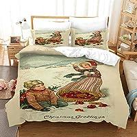 ティーンエイジャーの寝具セット羽毛布団カバーファッション3D羽毛布団カバー 155x220cm クリスマスの雪景色 キッズチルドレン用3ピース軽量マイクロファイバー羽毛布団カバーセット
