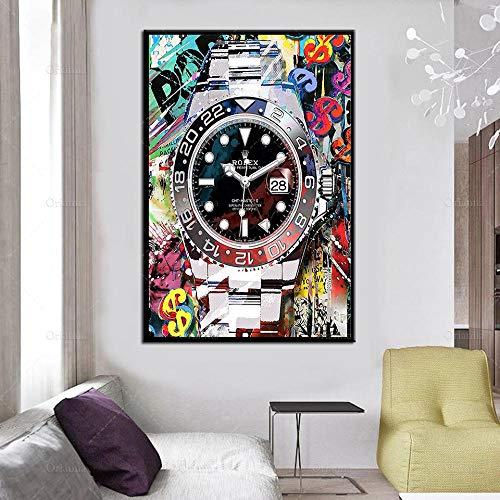 Reloj de plata con graffiti abstracto - Carteles de pintura de motivación e impresiones en lienzo Imagen de arte de pared para la decoración del hogar de la sala de estar - 50x70cm - Sin marco
