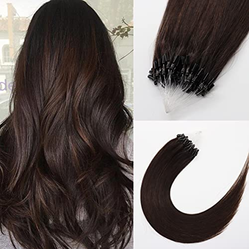 Kun Na Micro Link Hair Extensions Real 100% Human Hair 1g/Strand,50g Remy Loop Micro Rings Human Hair Extension 22 Inch Color #2 Dark Brown