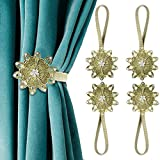 AULEEP Magnetic Curtain Tiebacks, 4 Pack Magnetic Decorative Drapes Curtain Clips Buckle, Flower Curtain Tie Back, European and American Style (Bronze)