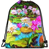 Colorful Water Lily Lotus Painting Unisex Outdoor Rucksack Shoulder Bag Travel Drawstring Backpack Bag