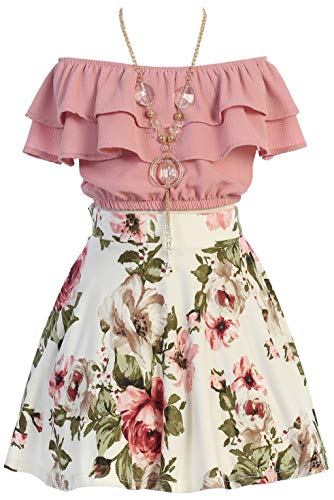 Cold Shoulder Crop Top Ruffle Layered Top Flower Girl Skirt Sets for Big Girl Dusty Pink 12 JKS 2130S