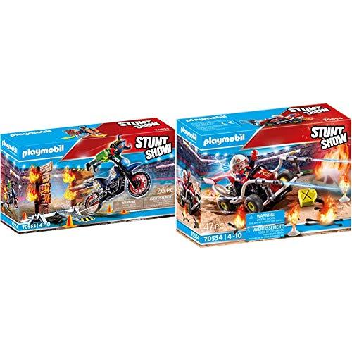 Playmobil Stunt Show 70553 - Moto Da Acrobazie + Stunt Show 70554 - Kart Antincendio