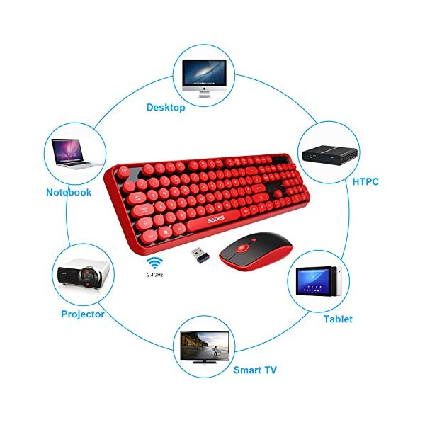 Wireless Keyboard Mouse Combo24ghz Waterproof Keyboard With Round Retro Style Red Key And Optical Wireless Gaming Mouse With 3 Adjustable Dpi Compatible With Pc Computer Laptop Desktop Note