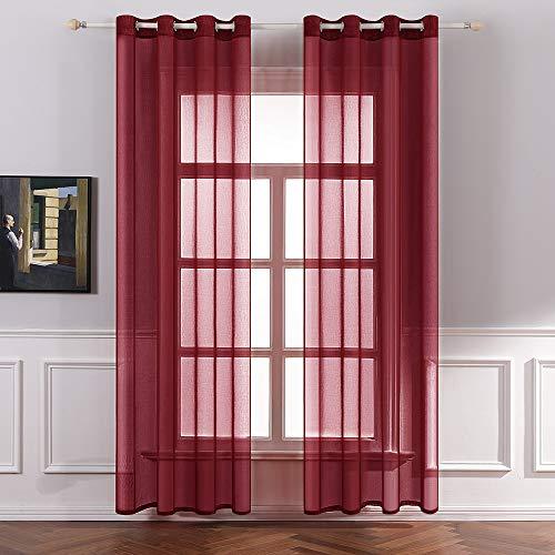 MIULEE 2er Set Sheer Voile Vorhang mit Ösen Transparente Gardine aus Voile Polyester Ösenschal Transparent Wohnzimmer Luftig Dekoschal für Schlafzimmer 140 X 225 cm (B x H), Rot