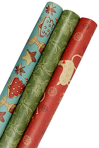 K-Kraft Vintage Prints Christmas Kraft Wrapping Paper Sets - 112.5 Square feet per Set (Mistletoe-Reindeer-SodaShoppe)