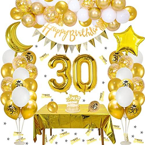 Palloncini 30 anni Decorazioni Compleanno Donna Uomo Bianchi Oro, APERIL 30 anni Addobbi Happy Birthday Striscione Triangolo Bandierine, Coriandoli Palloncini Feste, Palloncino Numero 30, Tovaglia