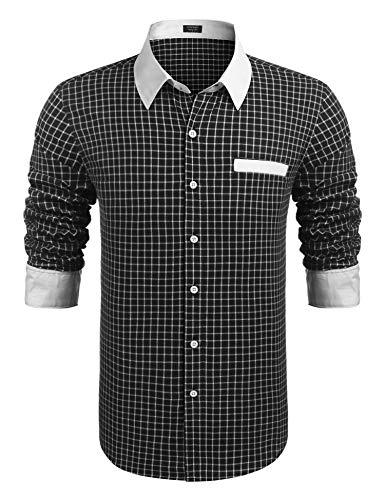 COOFANDY Trachten Hemd Karriert Herren Freizeithemd Karohemd Holzfäller Hemden Männer Checked Shirt