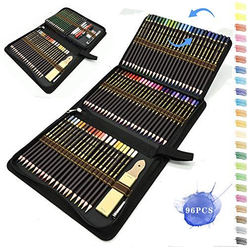 96pcs Buntstifte Set,Bleistift Zeichnen Set für Skizzieren,Profi Malset Art Set inklusive federtasche,farbstift, Graphit,Kohle-Bleistifte,Ideales schulbedarf künstlerbedarf für Anfänger und Kinder