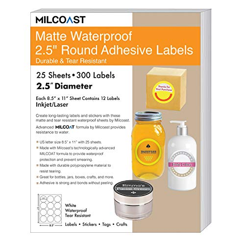 """Milcoast Matte Waterproof Tear Resistant White Blank Adhesive 2.5"""" Round Circle Shaped Labels - for Laser/Inkjet Printers - 300 Labels (25 Sheets)"""