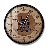 Relojes de pared Del buceo con escafandra Submarino Arte de madera Textura Impreso reloj de pared Submarino Deportes Decoración silenciosa del reloj de cuarzo del regalo del buceador con escafandra