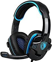 SADES Updated Verison Stereo Gaming Headset, SA708 GT Version Over Ear Computer Headphone with Mic For Laptop PC/Mac/PS4/iPad/iPod/Phones(Black Blue)