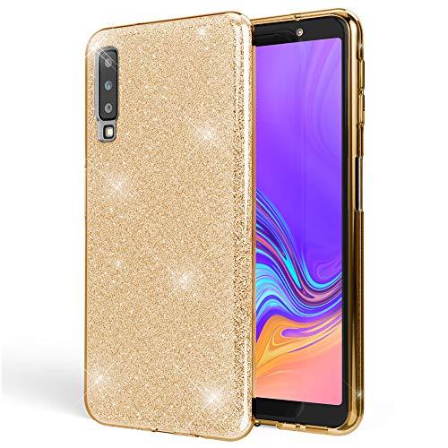 NALIA Hülle kompatibel mit Samsung Galaxy A7 2018, Glitzer Handyhülle Ultra-Slim Silikon-Hülle Back-Cover Schutzhülle, Glitter Sparkle Handy-Tasche Bumper Dünnes Bling Strass Etui, Farbe:Gold