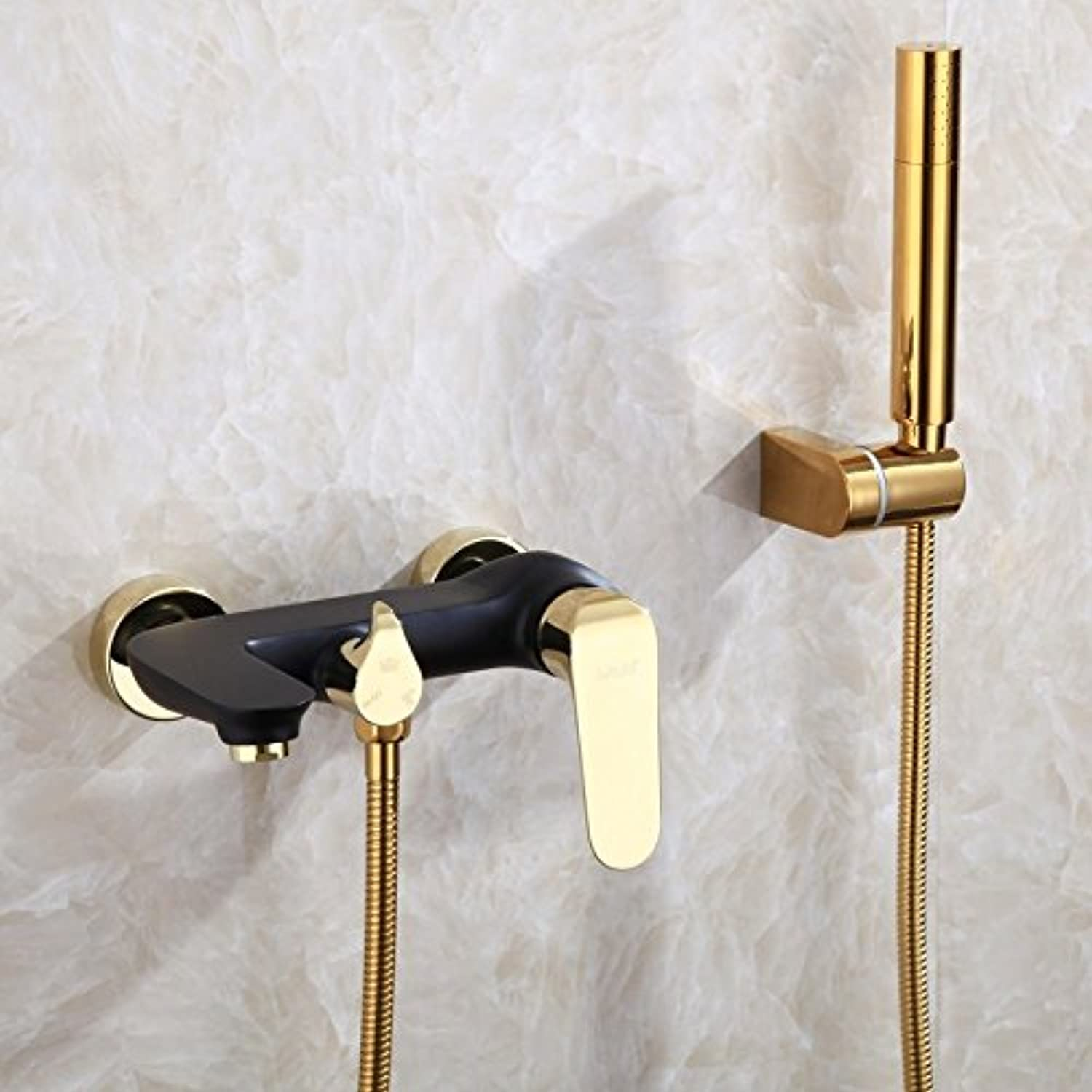 JONTON Bathroom Faucet Sink Taps Diy & Tools Taps All Copper Black gold Hot And Cold Bathtub Faucet Into The Wall Hand Shower Shower Set Cylinder Side Faucet, Black Faucet + Shower Set