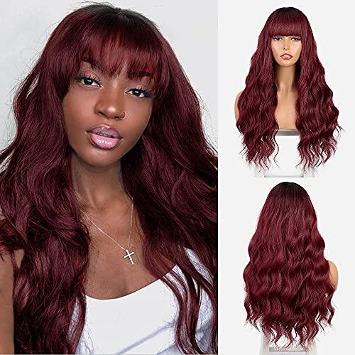 Burgundy wig with bangs _image2